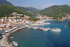 Parga Grekland berömd turist- destination Arkivbild