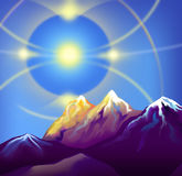 Parghelia in the mountains at sunset. Parghelia with multiple halos in the mountains at sunset Stock Photo