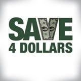 Épargnez quatre dollars de copie au détail Photo stock