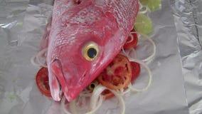 Pargo rojo - pescado crudo en los tomates, las aceitunas y las cebollas en hoja de lata almacen de metraje de vídeo