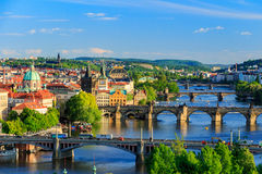 Pargue, view of the Lesser Bridge Tower and Charles Bridge (Karluv Most), Czech Republic. Royalty Free Stock Images