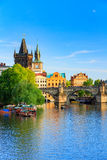 Pargue, view of the Lesser Bridge Tower and Charles Bridge (Karluv Most), Czech Republic. Royalty Free Stock Image