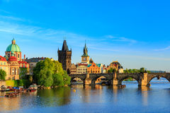 Pargue, view of the Lesser Bridge Tower and Charles Bridge (Karluv Most), Czech Republic. Stock Photos