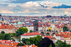 Pargue, view of the Lesser Bridge Tower and Charles Bridge (Karluv Most), Czech Republic. Stock Images