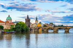 Pargue, view of the Lesser Bridge Tower and Charles Bridge (Karluv Most), Czech Republic. Royalty Free Stock Photo