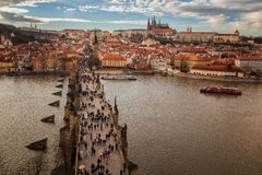 Pargue , wiew of the Lesser Bridge Tower of Charles Bridge Karluv Most and Prague Castle. Royalty Free Stock Images