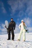 pargyckel som har snowboarden fotografering för bildbyråer