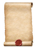 Parhment scroll with red wax royal seal 3d illustration Stock Photography