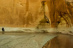 Paria Canyon - Utah. A young photographer in the Paria River Canyon in Utah Stock Photo