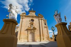 The Parich Church Balzan Malta. Beautiful sandstone sacral architecture of the Parich Church in Balzan city on Malta island. Beautiful cityscape in south Europe Stock Photo