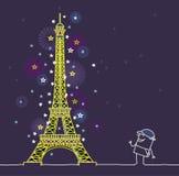 Parigi entro la notte illustrazione vettoriale
