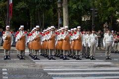 parigi france 14 luglio 2012 La truppa dei pionieri durante il tempo di parata sul Champs-Elysees a Parigi Immagini Stock Libere da Diritti
