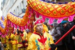 PARIGI, FRANCIA - 10 FEBBRAIO: Nuovo anno cinese Fotografie Stock Libere da Diritti