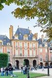 PARIGI, FRANCIA circa aprile 2016 , DES i Vosgi del posto france Disponga il distretto di Royale Lin Marais immagini stock libere da diritti