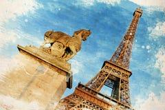 Parigi, Francia Illustrazione d'annata con la torre Eiffel Fotografia Stock Libera da Diritti