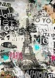 Parigi, Francia Illustrazione d'annata con la torre Eiffel Immagini Stock