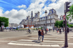 PARIGI, FRANCIA - 4 LUGLIO 2016: Hotel de Ville a Parigi, è Immagini Stock Libere da Diritti