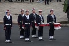 Parigi, Francia - 14 luglio 2012 I musicisti partecipano alla parata militare annuale in onore del giorno di Bastille Fotografia Stock Libera da Diritti