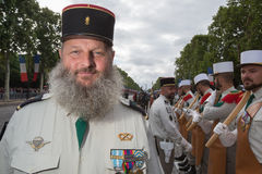 Parigi, Francia - 14 luglio 2012 I soldati dalla legione straniera francese marciano durante la parata militare annuale a Parigi Fotografia Stock Libera da Diritti