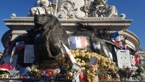Parigi, Francia 12 12 2015 Place de la République, dopo Paris'attacks nel novembre 2015 Fotografie Stock Libere da Diritti