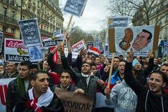 Parigi, Francia, protesta egiziana dei dimostranti Fotografia Stock