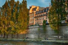 Parigi, Francia Vista da una barca sulla Senna Fotografia Stock