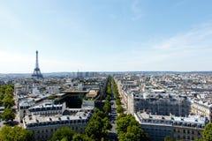 Parigi grandangolare, Francia con la torre Eiffel Immagine Stock