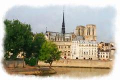 Parigi ha fatto nello stile dell'acquerello Fotografia Stock Libera da Diritti