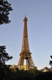 Parigi, il 14 luglio: Torre Eiffel accesa da Parigi in Francia Fotografia Stock Libera da Diritti
