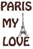 Parigi, il mio amore Le parole sui wi variopinti di un fondo dell'acquerello royalty illustrazione gratis