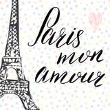 Parigi il mio segno dell'iscrizione di amore, parole francesi, con la torre Eiffel disegnata a mano di schizzo sull'illustrazione Fotografia Stock