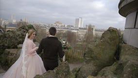 parigi La Francia belle spose di nozze del dicembre 2016 dall'Ucraina Una bella coppia di nozze cammina intorno a Parigi video d archivio