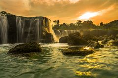 Parigi, the little niagara waterfall. Curug Parigi, a beautiful waterfall and landscape in Bekasi, indonesi, Indonesia. People call it a Little Niagara Royalty Free Stock Photography