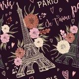 parigi Modello senza cuciture d'annata con la torre Eiffel, i cuori e gli elementi floreali nello stile dell'acquerello Immagini Stock Libere da Diritti