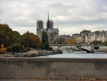 Parigi - Notre Dame från Pont D ` Austerlitz Arkivfoton