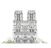 Parigi, Notre Dame, raccolta di schizzo Fotografia Stock Libera da Diritti
