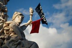 Parigi, Place de la Republique, simbolo di libertà fotografia stock