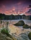 Parigi waterfall. Beautiful sunset at bekasi. Indonesia royalty free stock photo