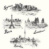 Parijs, Berlijn, Londen, Sydney Stock Foto