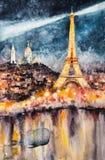 Parijs bij geschilderde nachtwaterverf Royalty-vrije Stock Foto's