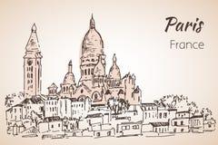 Parijs cityspace Basilique du Sacre-Coeur op Montmartre schets Stock Fotografie