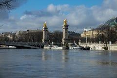 Parijs, de banken van de Zegen is overstroomd, is de Zegen 6 meters boven het niveau De boten en de aken kunnen niet meer doorgev Stock Fotografie