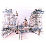 Parijs in de de winterochtend, Frankrijk royalty-vrije illustratie