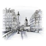 Parijs in de de winterochtend, Frankrijk vector illustratie
