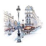 Parijs in de de winterochtend, Frankrijk stock illustratie