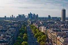 Parijs, de Defensie van La, panorama Stock Afbeelding