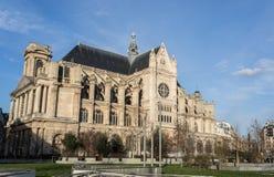 PARIJS, EGLISE HEILIGE EUSTACHE Februari 2018 Buitenkant van de Kerk o Stock Fotografie