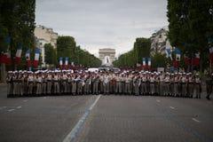 Parijs, Frankrijk - Juli 14, 2012 Legionairs vóór de jaarlijkse militaire parade ter ere van de Bastille-Dag Stock Foto