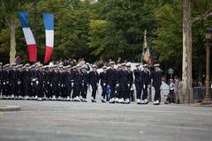 Parijs, Frankrijk - Juli 14, 2012 Militairen van het Franse Buitenlandse Legioen maart tijdens de jaarlijkse militaire parade Stock Afbeeldingen