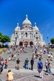 Parijs, Frankrijk - Juni 28, 2015: De Kathedraal van Sacrecoeur stock foto's